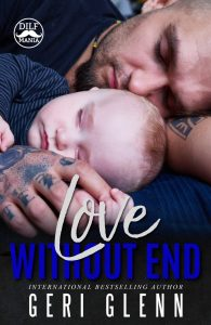 Book cover for Love Without End showing a tattooed man sleeping beside a blond baby boy.
